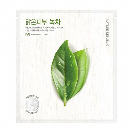 Маска для лица гидрогелевая REAL NATURE GREEN TEE HYDROGEL MASK 22гр